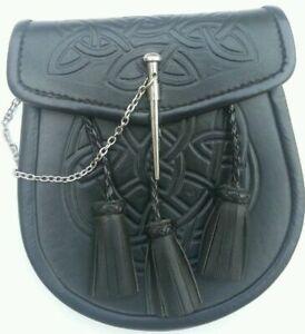 3 Pompons Celtique Nœud En Relief Noir Écossais Loquet Broche Kilt Sporran + Ceinture-afficher Le Titre D'origine