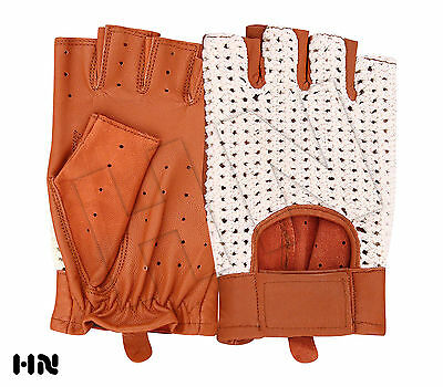 MENS CLASSIC DRIVING GLOVES SOFT HALF FINGER LAMBSKIN LEATHER - TAN BLACK BROWN