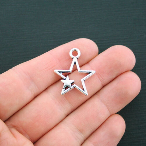 SC4513 6 Star Charms Antique Silver Tone 2 Sided Double Star Charm