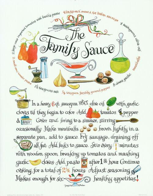 JOSEPH A. PHELAN Vintage 1967 Spaghetti Sauce Recipe Print THE FAMILY SAUCE