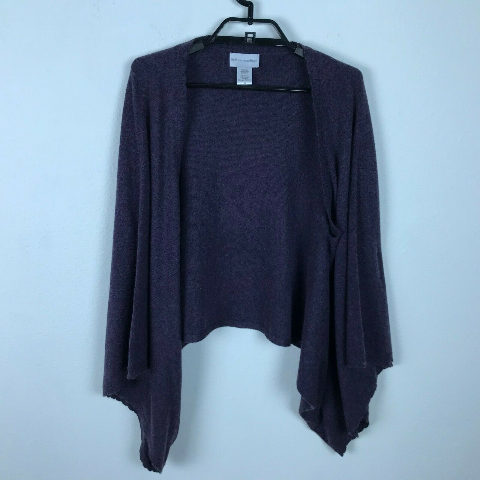 170e867d42185 Soft Surroundings Sweater Cardigan Cropped Open Front Open Sleeve Purple Sz  S M