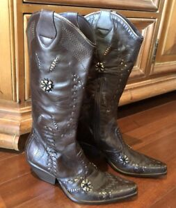 f7d7d2ba099 Image is loading BCBG-Girls-Embellished-Brown-LEATHER-Cowboy-Western-Boots-