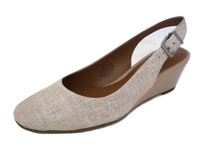 Easy Spirit Safra wedge slingback pumps taupe tan leather sz  11 Med NEW