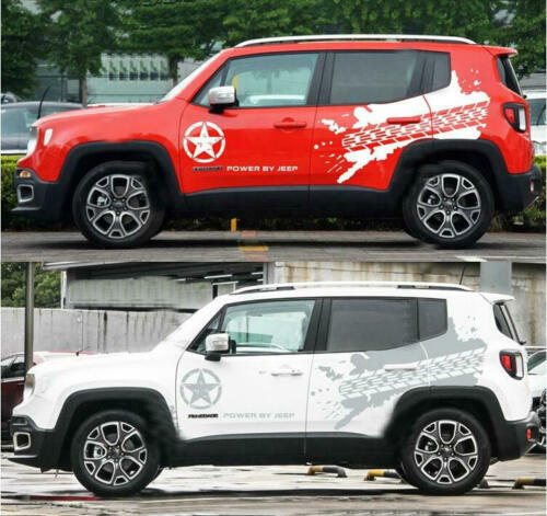 Graphics Tyre Tracks Car Sticker Bonnet Decal Fit For Jeep Renegade Cherokee