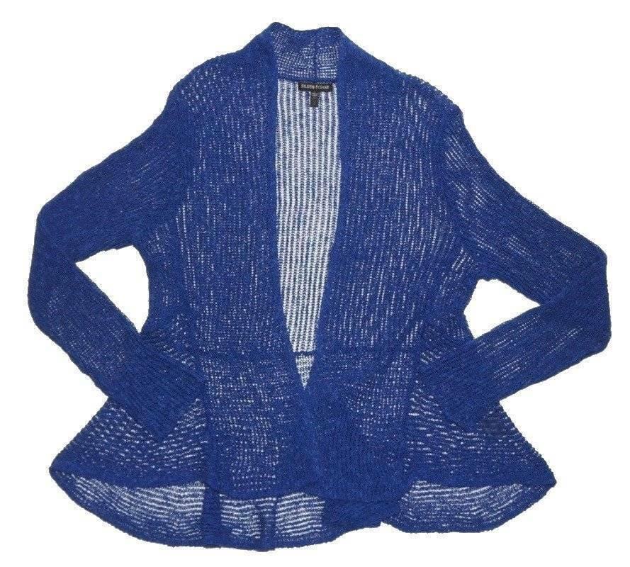 Eileen Fisher Flutter Linen Blend Cardigan Petite Medium P10 P12 Persian bluee