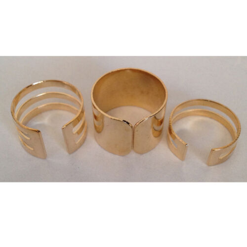 Beautiful 3 Piece Shiny Midi Punk Ring Set Silver or Gold Plain Knuckle