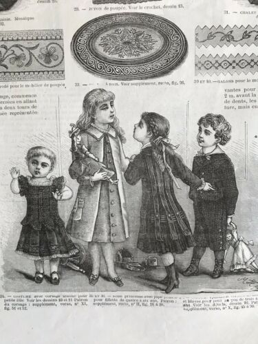 Rare 1870/'s sewing patterns MODE UNIVERSELLE  Dec 16,1878 DOLL HOUSES tracings