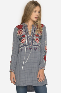 JOHNNY-WAS-Embroidered-MICA-LACEUP-HENLEY-TUNIC-Dress-Roses-WORKSHOP-S-278