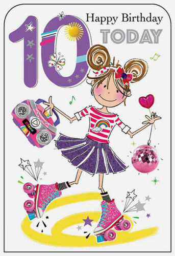 10th Birthday Girl on Skates Card