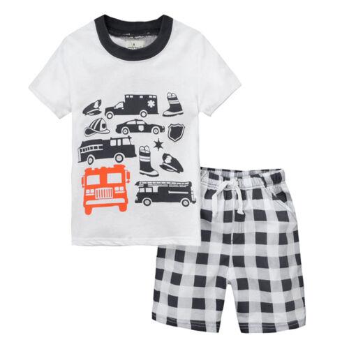 Kinder Jungen T-Shirt Tops Shorts Kurz Hose Comic Freizeit Kleidung Outfits DE