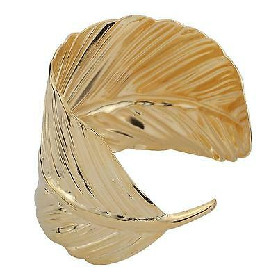 Trendy Unique Gold Tone Bracelet Leaf Feather Shaped Wide Open Cuff Bangle New