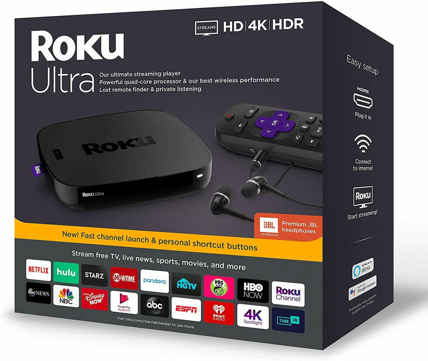 New Roku 4670R Ultra Streaming Media Player 4K HD HDR with Headphones - Black 4670r hdr headphones media new player roku streaming ultra with