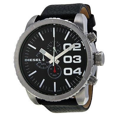 Diesel Chronograph Black Dial Black Leather Mens Watch DZ4208