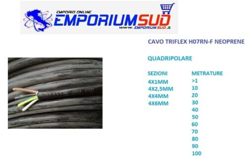 CAVO CORDINA TRIFLEX H07RNF QUADRIPOLARE 4X1 4X12,5 4X4 4X6MM VARIE METRATURE