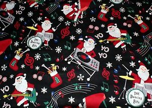 NEW-Christmas-Print-Scrub-Top-5X-Rockin-Santa