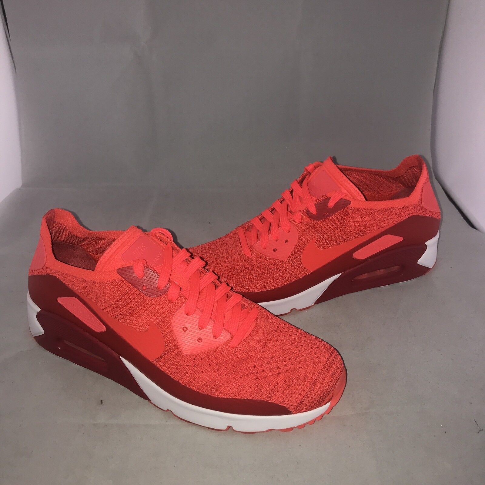 Nike Air Max 90 Ultra 2.0 Flyknit Shoes Mens 875943-600 Red Running Shoes Flyknit Size 10 5a3538