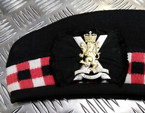 Genuine-British-Army-Triple-Diced-Regiment-of-Scotland-Glengarry-Hat-All-Sizes