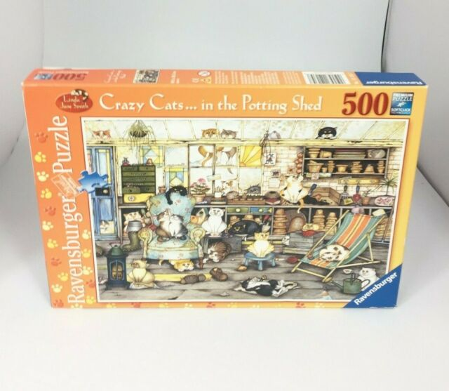 Ravensburger Crazy Cats In The Potting Shed 500 Piece Jigsaw Puzzle Complete