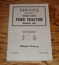 1948 1949 1950 1951 1952 Ford Tractor Model 8N Service Manual