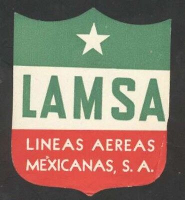 "Objective Mexico Old Luggage Label Lamsa Airlines 3 3/4"" X 3 1/4"" At All Costs Collectibles Merchandise & Memorabilia"