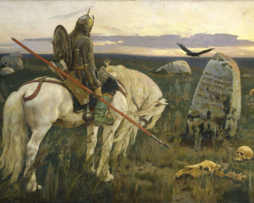 Vasnetsov Knight at the Crossroads Painting William Blake Real Canvas Art Print