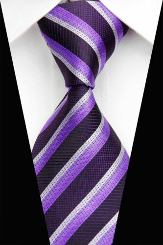 GIFTS FOR MEN Classic Mens Triple Stripe Silk Jacquard Necktie Tie Purple Black