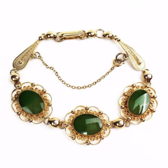 Vintage SORRENTO Bracelet Filigree Jade 1/20 12K GF Gold Filled Safety Chain