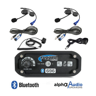 Rugged Radios RRP696 Intercom 2 Place Kit with Over The Head Headsets Push to Talk Cables and Intercom Cables