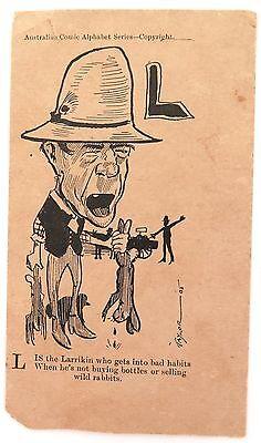 SUPER RARE 1905 AUSTRALIAN COMIC ALPHABET SERIES POSTCARD BY TAYLOR THE LETTER L