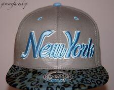 New York Leopard Snapback caps, NY dope flat peak baseball fitted hats grey/sky