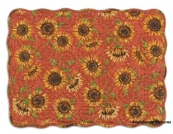 SUNFLOWERS PLACEMAT (S) Quilted Yellow Sun Flower Orange Autumn Kay Dee Designs