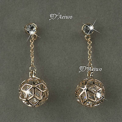18K ROSE GOLD GF MADE WITH SWAROVSKI CRYSTAL FILIGREE BALL STUD DANGLE EARRINGS