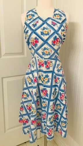 Vintage 1950s feed sack dress red yellow and blue