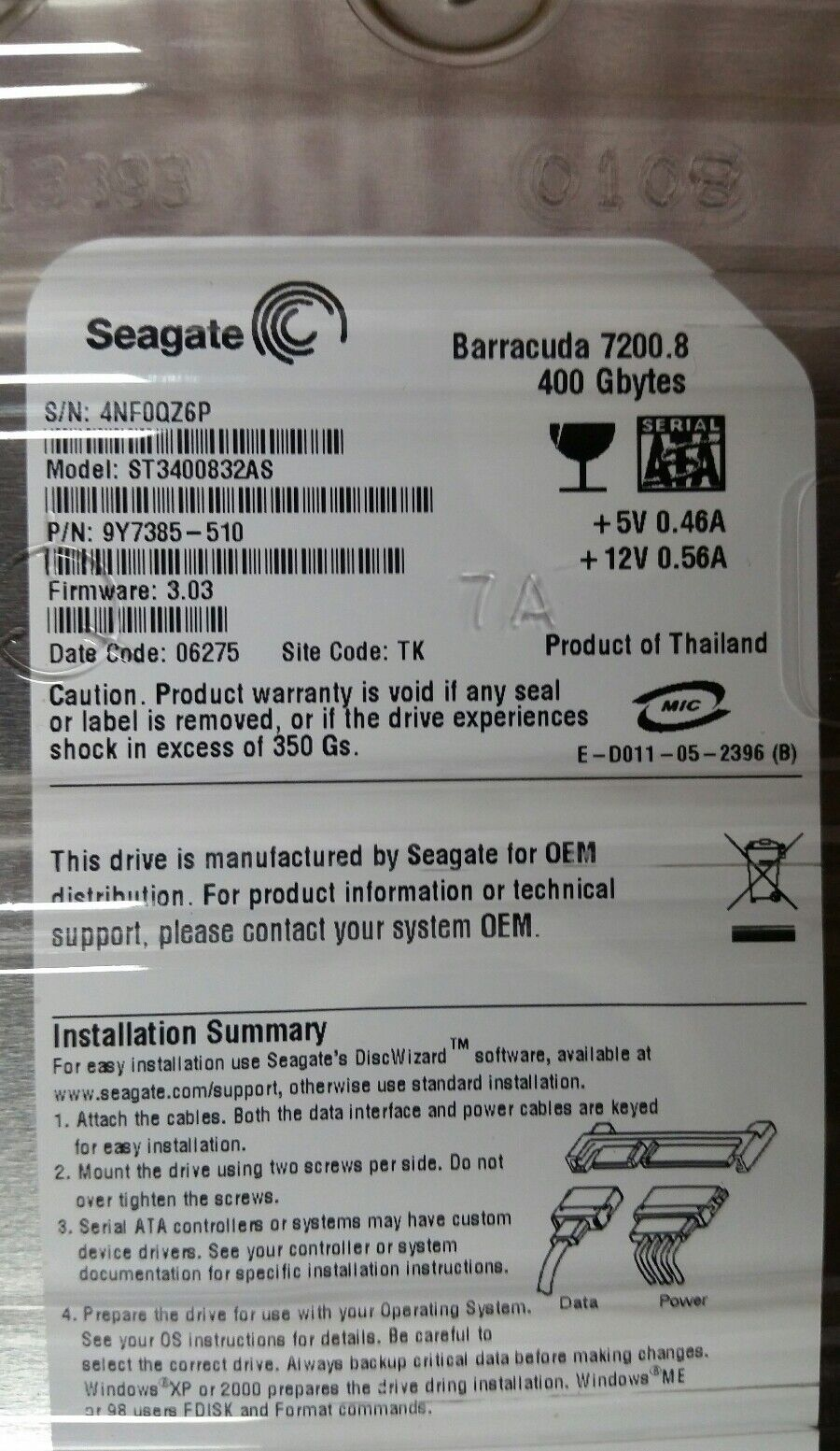 Seagate Barracuda 400GB Internal 7200RPM 3 5