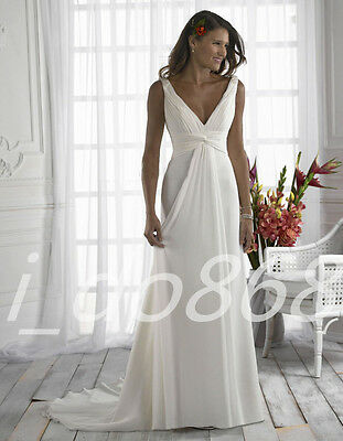 New White Chiffon Beach Wedding Dress Bridal Gown Party Prom Deb Formal Size6-16