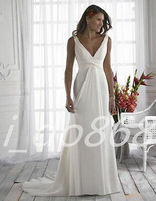 New White Chiffon Beach Wedding Dress Bridal Gown Party Prom Deb Formal Size6-16