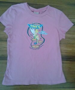 Disney tinker bell womens small pink t shirt tink 39 s beauty for Beauty salon t shirts