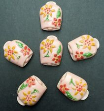 6 Unusual Pink Vintage Cowbell Buttons - 2cm tall