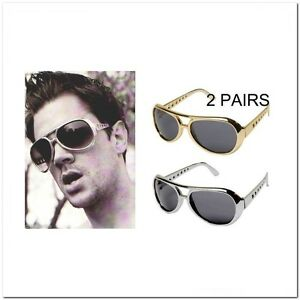 2-Pair-Jackass-Aviator-Johnny-Knoxville-Elvis-Sunglasses-Retro-80-039-s-Gold-Silver