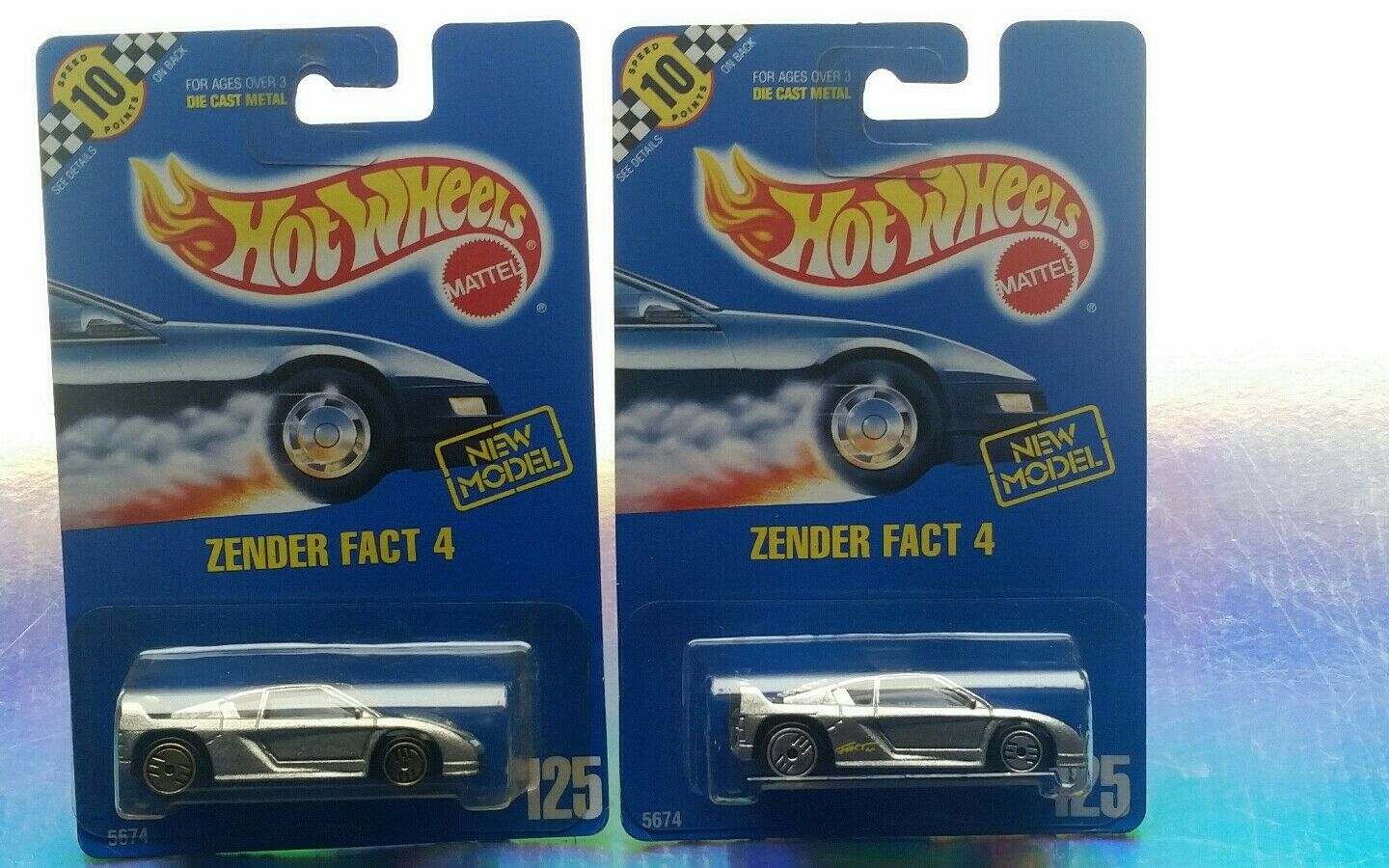PAIR OF; ZENDER FACT FACT 4 blueE CARD 125HOT WHEELSRAREVHTFCOLLECTIBLENICEBP