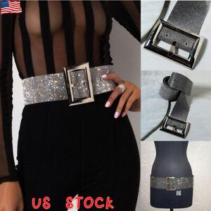 Women/'s Gold Crystal Diamond Waist Belt Fashion Chain Full Rhinestone Waistband