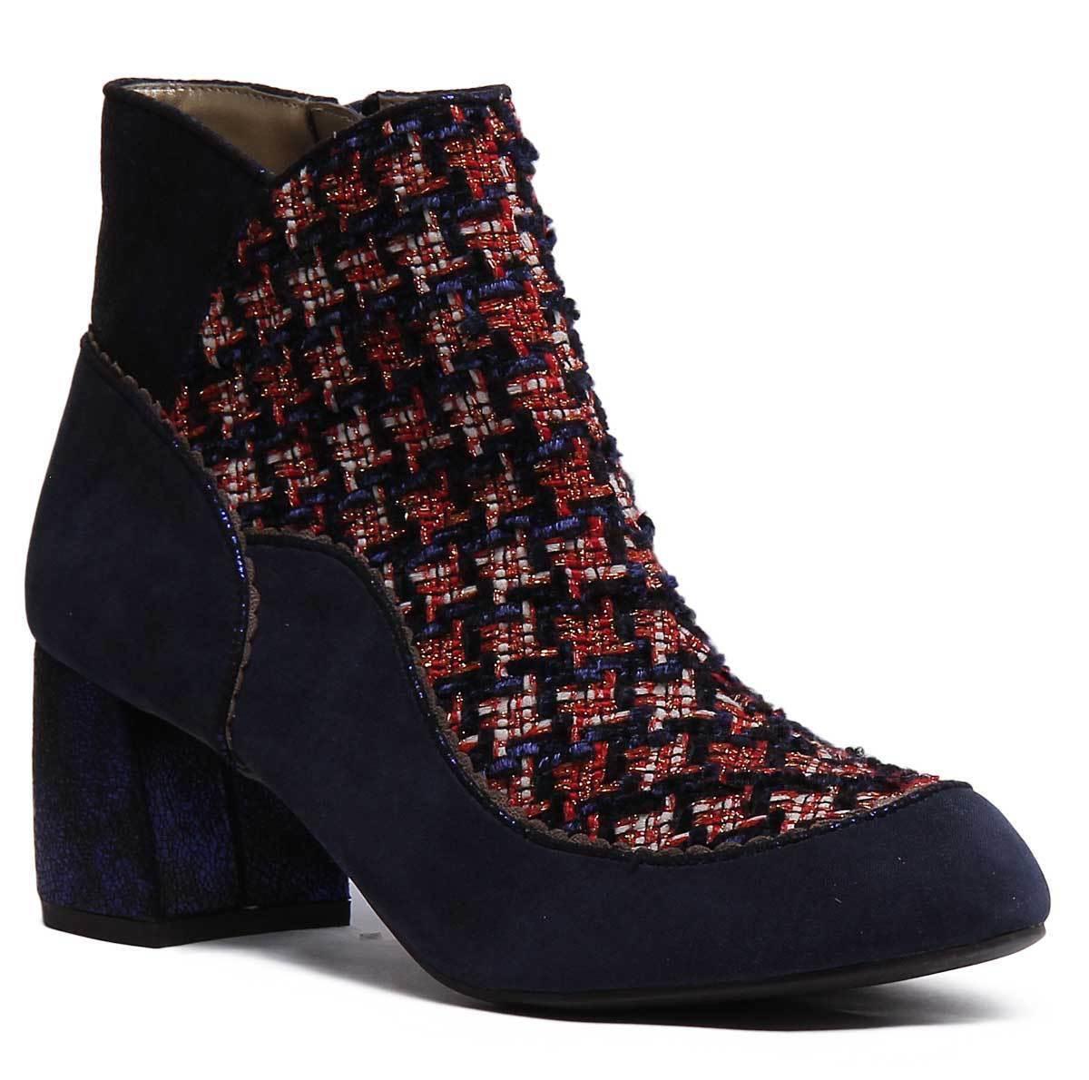 Ruby Ruby Ruby SHOO Karolina Mujeres Imitación Gamuza Tweed Azul Marino botas al tobillo 086592