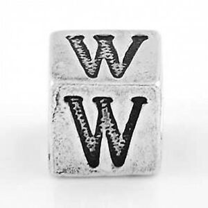STERLING SILVER BLOCK CUBE INITIAL LETTER G BEAD