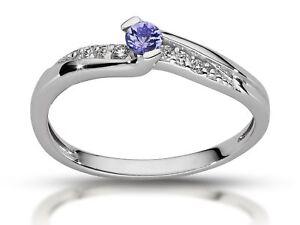 585-Gold-Verlobungsring-14k-Gold-Ring-Diamant-Tansanit-Ring-6-Diamanten-Ring