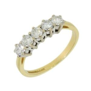 18ct-Yellow-Gold-0-75cts-Diamond-Half-Eternity-Ring-Round-Brilliant-Cut