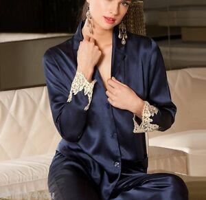 Women's Clothing Kind-Hearted Lise Charmel Splendeur Soie Veste De Pyjama Soie Alc3480 Splendeur Marine Volume Large