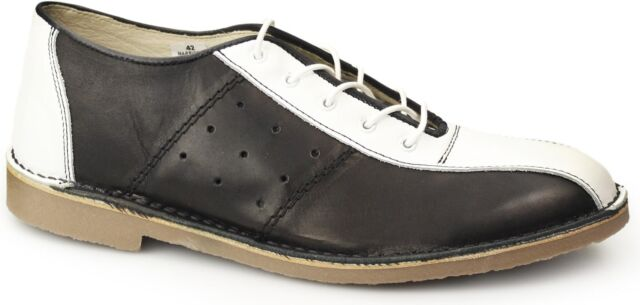 ee431a0725e Ikon Marriott Mens Lace up Leather Classic Mod Bowling Shoes Black ...