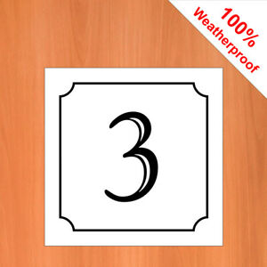 "3"" Weatherproof self-adhesive vinyl House number sticker 1- 50 Black on White"