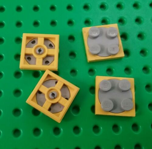 Lego 2x2 Stud Yellow Base Swivel Round Spin Grey Plate Space Turntable 4 pieces