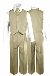 Khaki Baby Boys Toddler Wedding Formal Party Vest Necktie Sets Suits Outfits S-7